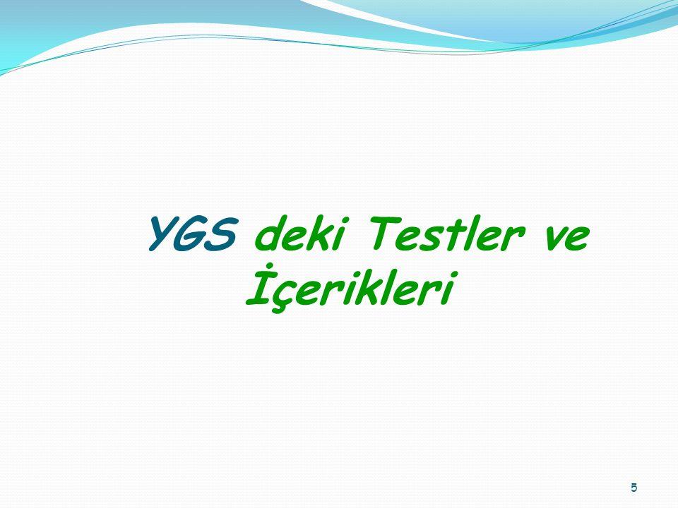 YGS deki Testler ve İçerikleri 5