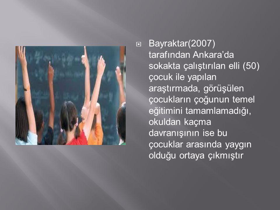  Bayraktar(2007) tarafından Ankara'da sokakta çalıştırılan elli (50) çocuk ile yapılan araştırmada, görüşülen çocukların çoğunun temel eğitimini tama