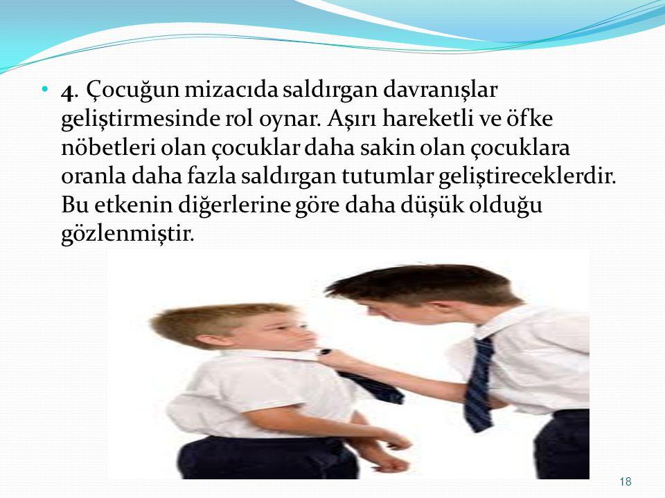 4. Çocuğun mizacıda saldırgan davranışlar geliştirmesinde rol oynar.