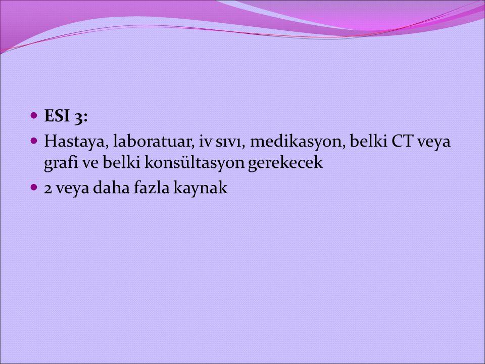 ESI 3: Hastaya, laboratuar, iv sıvı, medikasyon, belki CT veya grafi ve belki konsültasyon gerekecek 2 veya daha fazla kaynak
