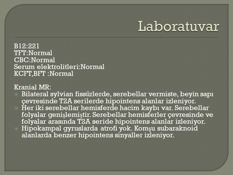 B12:221 TFT:Normal CBC:Normal Serum elektrolitleri:Normal KCFT,BFT :Normal Kranial MR:  Bilateral sylvian fissürlerde, serebellar vermiste, beyin sapı çevresinde T2A serilerde hipointens alanlar izleniyor.