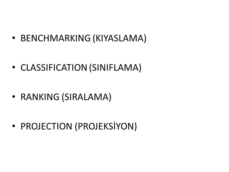 BENCHMARKING (KIYASLAMA) CLASSIFICATION (SINIFLAMA) RANKING (SIRALAMA) PROJECTION (PROJEKSİYON)