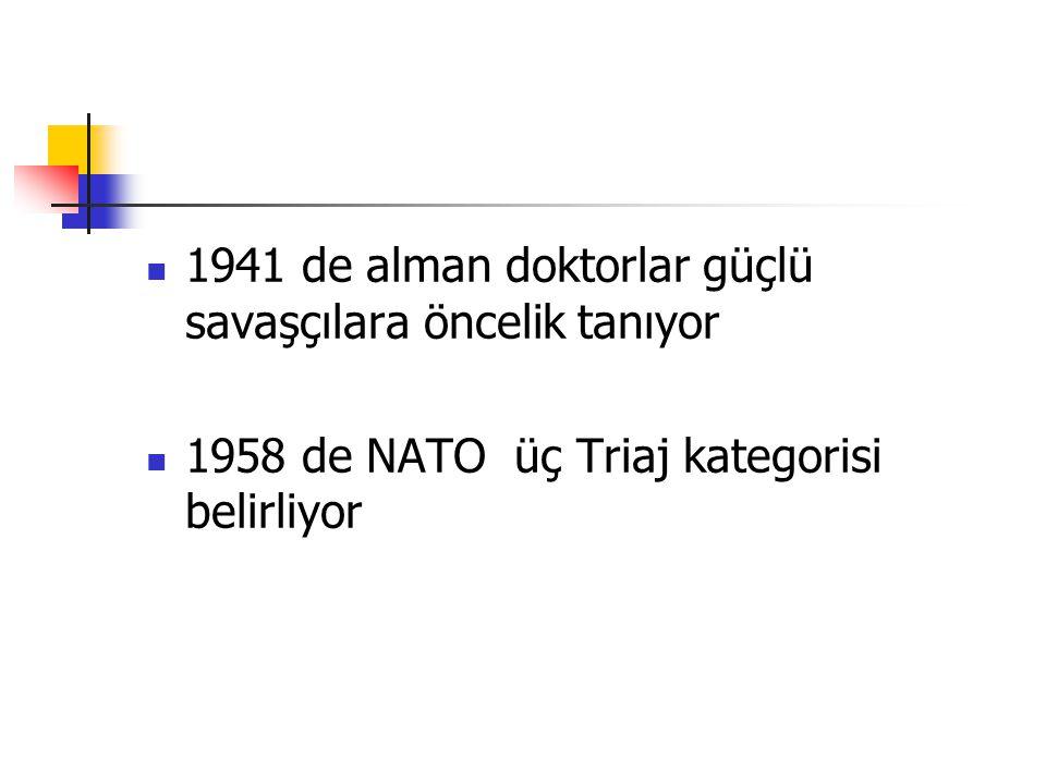 1941 de alman doktorlar güçlü savaşçılara öncelik tanıyor 1958 de NATO üç Triaj kategorisi belirliyor