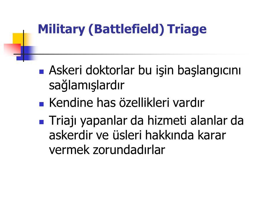 Askeri doktorlar bu işin başlangıcını sağlamışlardır Kendine has özellikleri vardır Triajı yapanlar da hizmeti alanlar da askerdir ve üsleri hakkında karar vermek zorundadırlar Military (Battlefield) Triage