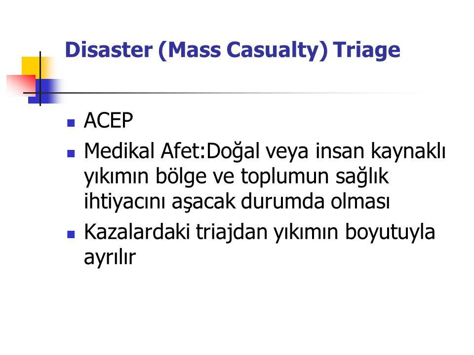 Disaster (Mass Casualty) Triage ACEP Medikal Afet:Doğal veya insan kaynaklı yıkımın bölge ve toplumun sağlık ihtiyacını aşacak durumda olması Kazalardaki triajdan yıkımın boyutuyla ayrılır