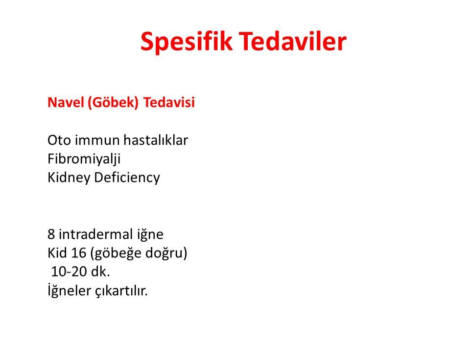Spesifik Tedaviler Navel (Göbek) Tedavisi Oto immun hastalıklar Fibromiyalji Kidney Deficiency 8 intradermal iğne Kid 16 (göbeğe doğru) 10-20 dk. İğne