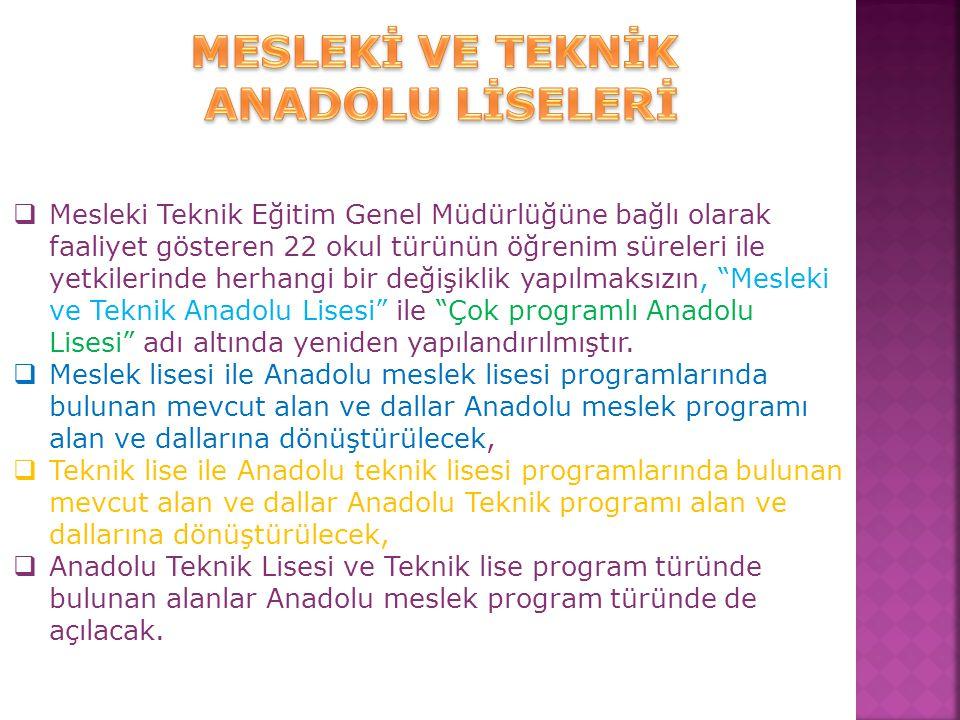  Mesleki Teknik Eğitim Genel Müdürlüğüne bağlı olarak faaliyet gösteren 22 okul türünün öğrenim süreleri ile yetkilerinde herhangi bir değişiklik yap