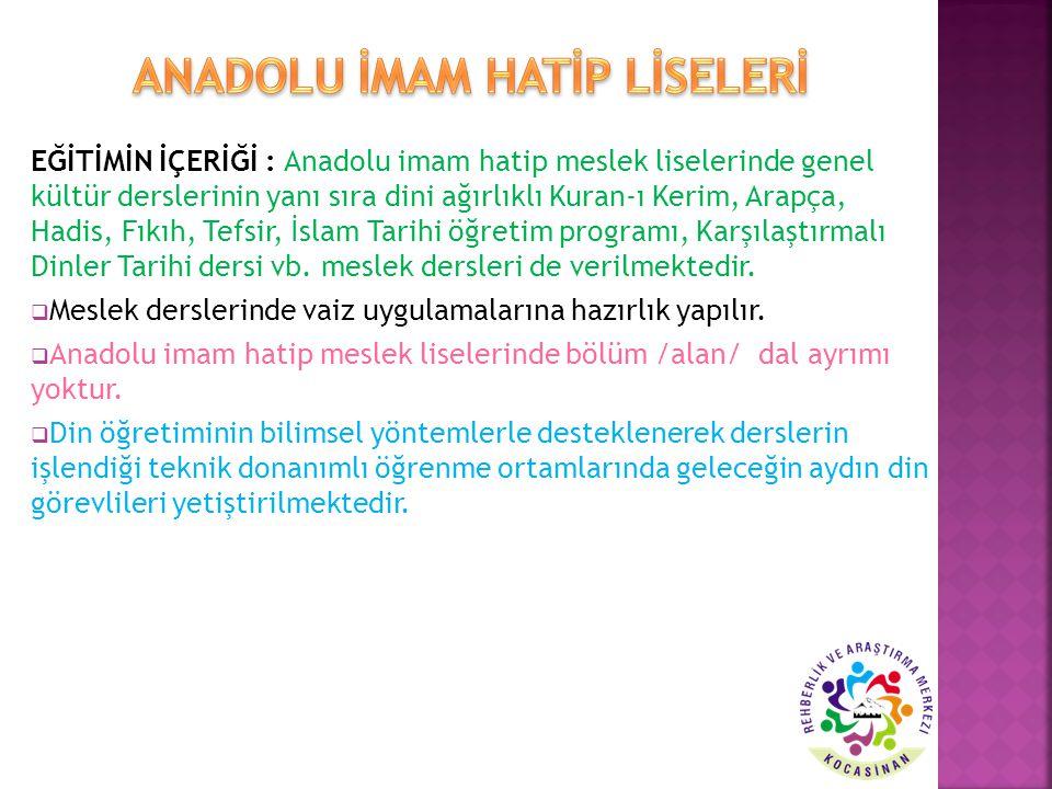 EĞİTİMİN İÇERİĞİ : Anadolu imam hatip meslek liselerinde genel kültür derslerinin yanı sıra dini ağırlıklı Kuran-ı Kerim, Arapça, Hadis, Fıkıh, Tefsir