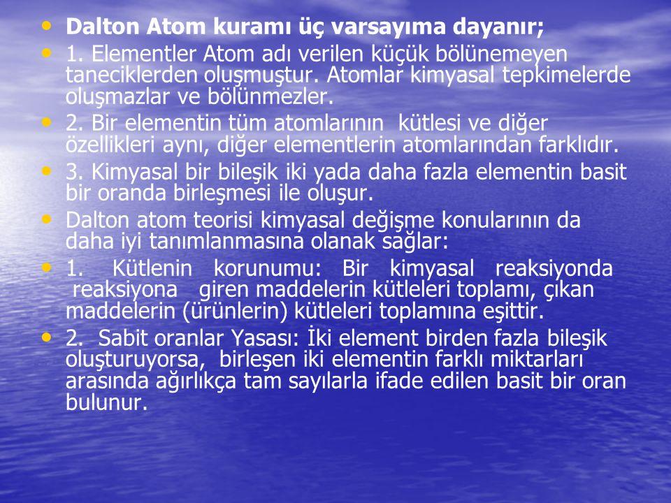 Dalton Atom kuramı üç varsayıma dayanır; 1. Elementler Atom adı verilen küçük bölünemeyen taneciklerden oluşmuştur. Atomlar kimyasal tepkimelerde oluş