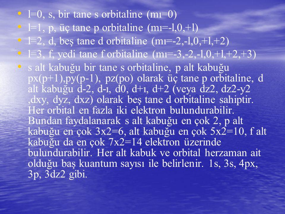 l=0, s, bir tane s orbitaline (mı=0) l=1, p, üç tane p orbitaline (mı=-l,0,+l) l=2, d, beş tane d orbitaline (mı=-2,-l,0,+l,+2) l=3, f, yedi tane f or