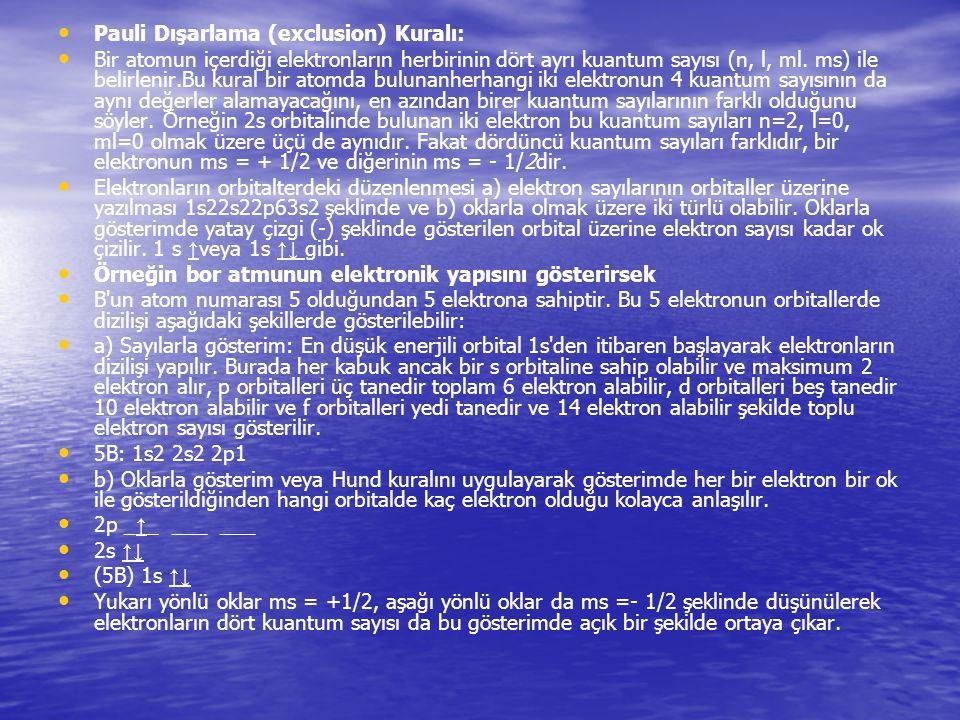 Pauli Dışarlama (exclusion) Kuralı: Bir atomun içerdiği elektronların herbirinin dört ayrı kuantum sayısı (n, l, ml. ms) ile belirlenir.Bu kural bir a