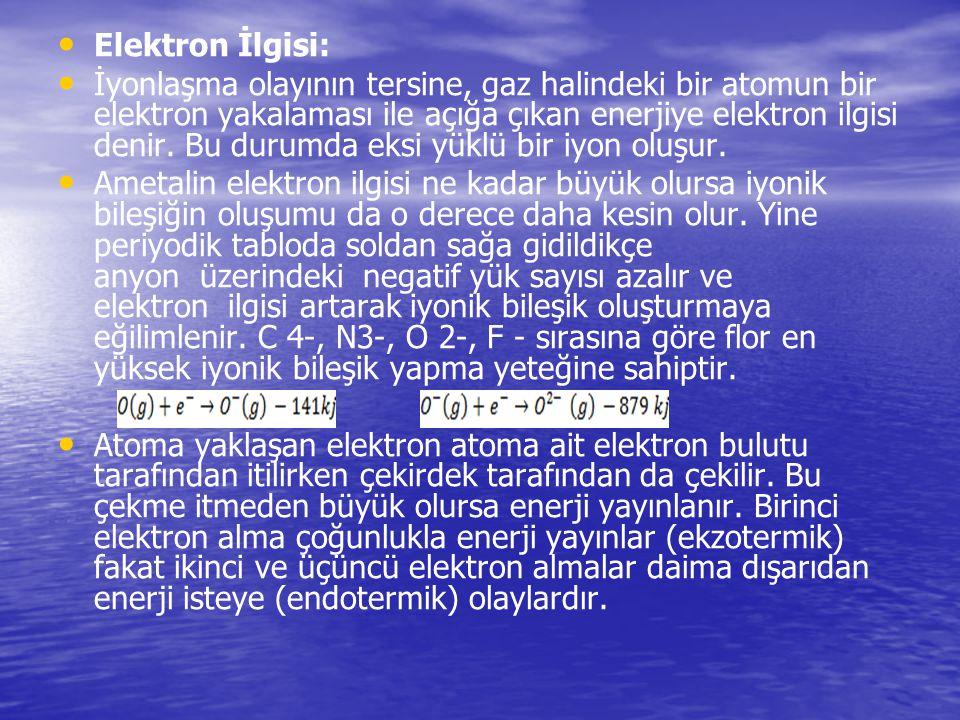 Elektron İlgisi: İyonlaşma olayının tersine, gaz halindeki bir atomun bir elektron yakalaması ile açığa çıkan enerjiye elektron ilgisi denir. Bu durum