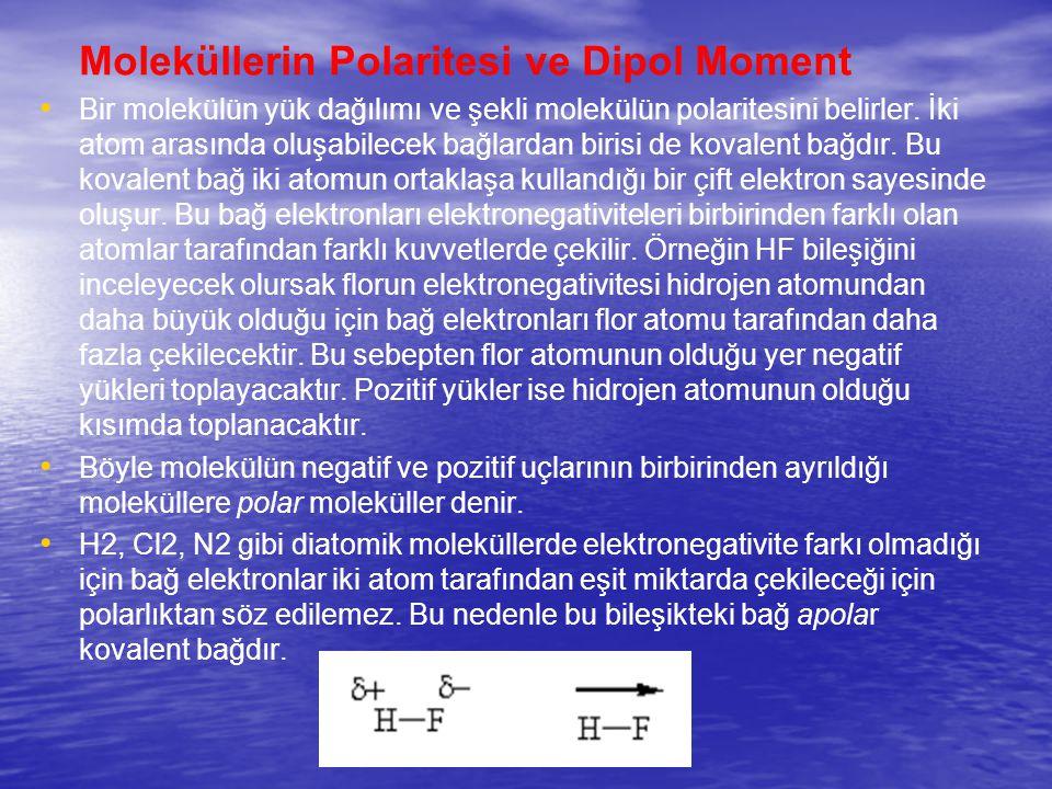 Moleküllerin Polaritesi ve Dipol Moment Bir molekülün yük dağılımı ve şekli molekülün polaritesini belirler. İki atom arasında oluşabilecek bağlardan
