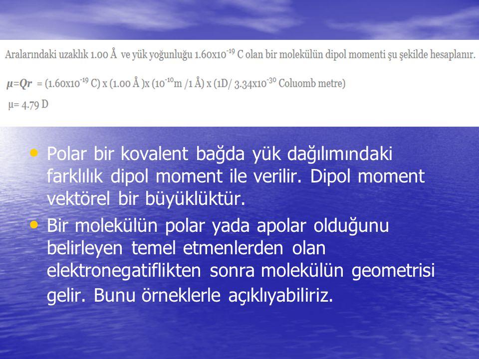 Polar bir kovalent bağda yük dağılım ın daki farklılık dipol moment ile verilir. Dipol moment vektörel bir büyüklüktür. Bir molekülün polar yada apola