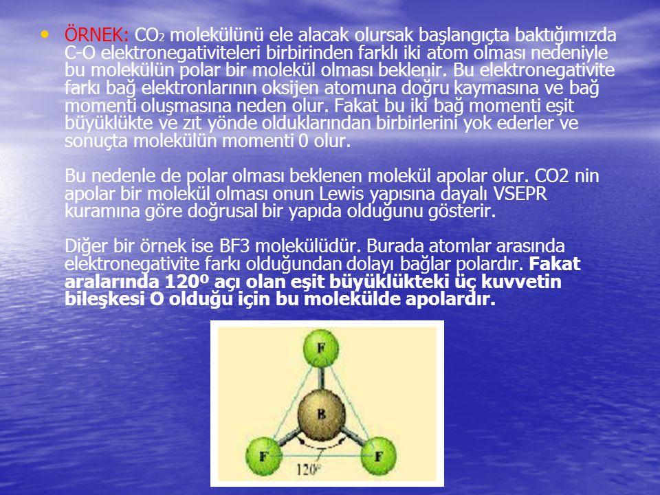 ÖRNEK: CO 2 molekülünü ele alacak olursak başlangıçta baktığımızda C-O elektronegativiteleri birbirinden farklı iki atom olması nedeniyle bu molekülün