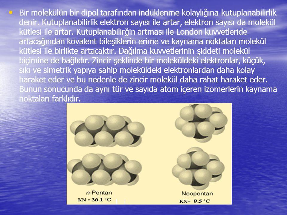 Bir molekülün bir dipol tarafından indüklenme kolaylığına kutuplanabilirlik denir. Kutuplanabilirlik elektron sayısı ile artar, elektron sayısı da mol