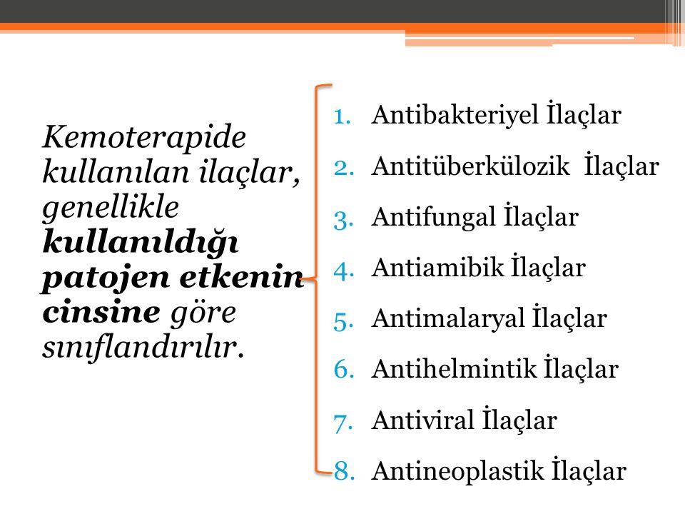 Kemoterapide kullanılan ilaçlar, genellikle kullanıldığı patojen etkenin cinsine göre sınıflandırılır. 1.Antibakteriyel İlaçlar 2.Antitüberkülozik İla