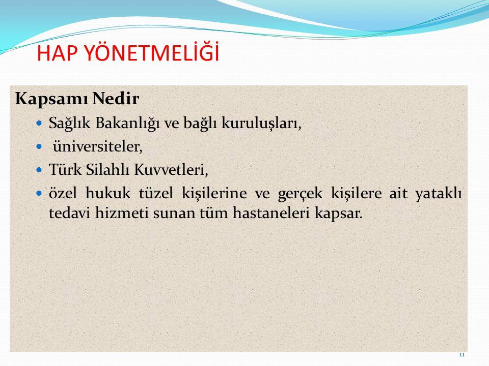 HAP YÖNETMELİĞİ Kapsamı Nedir Sağlık Bakanlığı ve bağlı kuruluşları, üniversiteler, Türk Silahlı Kuvvetleri, özel hukuk tüzel kişilerine ve gerçek kiş