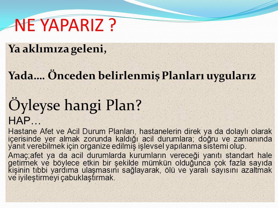 NE YAPARIZ ? Ya aklımıza geleni, Yada…. Önceden belirlenmiş Planları uygularız Öyleyse hangi Plan? HAP… Hastane Afet ve Acil Durum Planları, hastanele