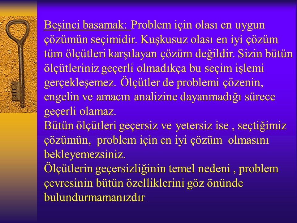 Dördüncü basamak: Olası çözümlerin problemlere uygulanmasıdır. Belirlediğimiz herhangi bir yolun, kabul edilir olası çözüm olup olmadığını kanıtlamak