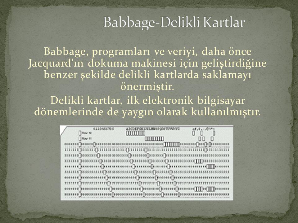 Babbage, programları ve veriyi, daha önce Jacquard'ın dokuma makinesi için geliştirdiğine benzer şekilde delikli kartlarda saklamayı önermiştir. Delik