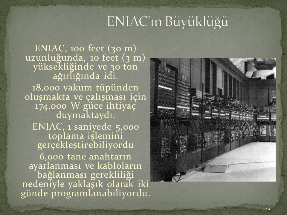 22 ENIAC, 100 feet (30 m) uzunluğunda, 10 feet (3 m) yüksekliğinde ve 30 ton ağırlığında idi. 18,000 vakum tüpünden oluşmakta ve çalışması için 174,00