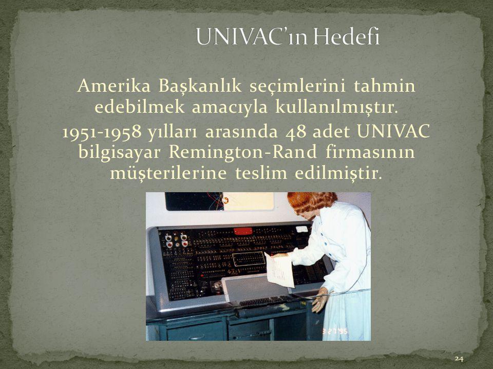24 Amerika Başkanlık seçimlerini tahmin edebilmek amacıyla kullanılmıştır. 1951-1958 yılları arasında 48 adet UNIVAC bilgisayar Remington-Rand firması