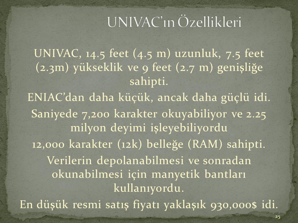 25 UNIVAC, 14.5 feet (4.5 m) uzunluk, 7.5 feet (2.3m) yükseklik ve 9 feet (2.7 m) genişliğe sahipti. ENIAC'dan daha küçük, ancak daha güçlü idi. Saniy