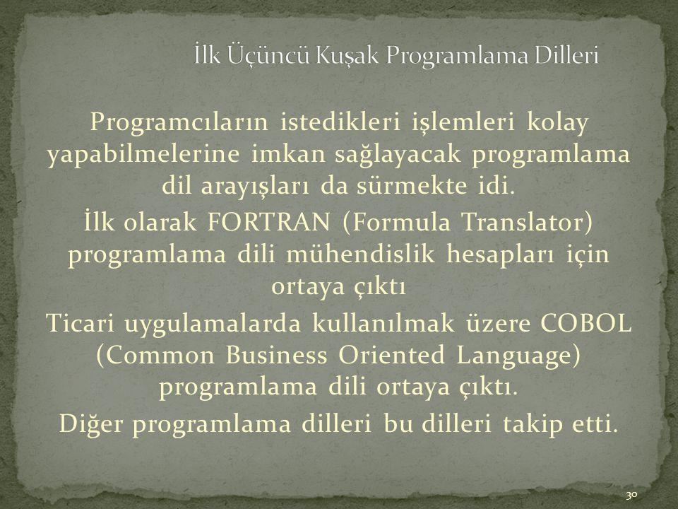 30 Programcıların istedikleri işlemleri kolay yapabilmelerine imkan sağlayacak programlama dil arayışları da sürmekte idi. İlk olarak FORTRAN (Formula