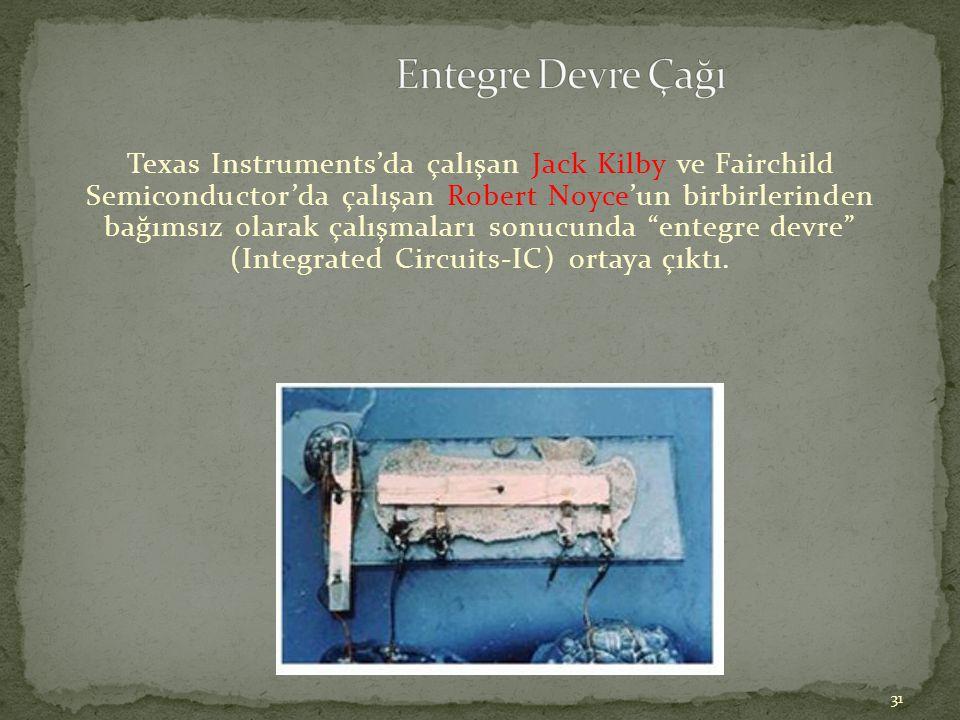 31 Texas Instruments'da çalışan Jack Kilby ve Fairchild Semiconductor'da çalışan Robert Noyce'un birbirlerinden bağımsız olarak çalışmaları sonucunda