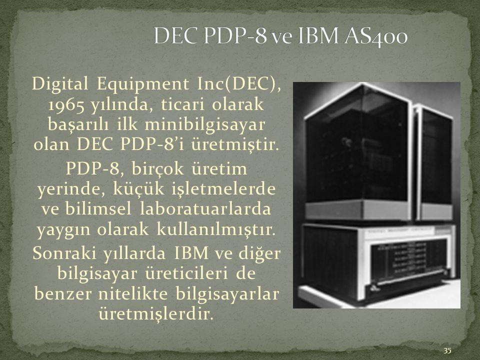 35 Digital Equipment Inc(DEC), 1965 yılında, ticari olarak başarılı ilk minibilgisayar olan DEC PDP-8'i üretmiştir. PDP-8, birçok üretim yerinde, küçü