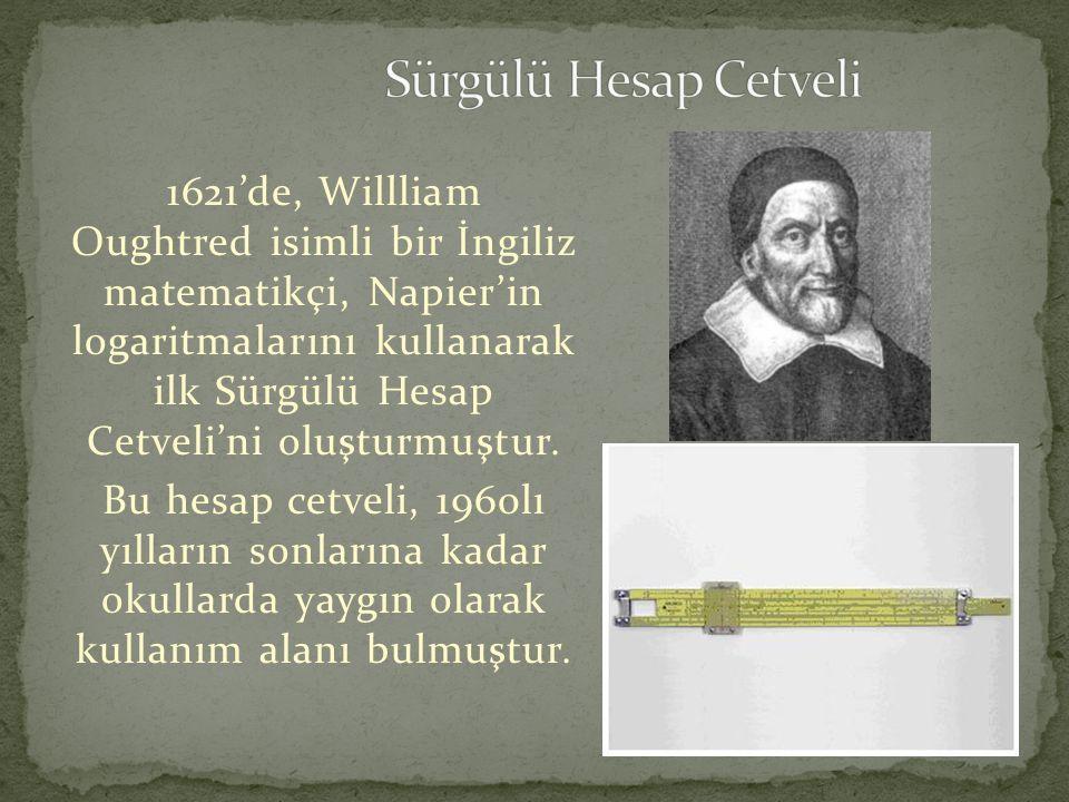 1621'de, Willliam Oughtred isimli bir İngiliz matematikçi, Napier'in logaritmalarını kullanarak ilk Sürgülü Hesap Cetveli'ni oluşturmuştur. Bu hesap c