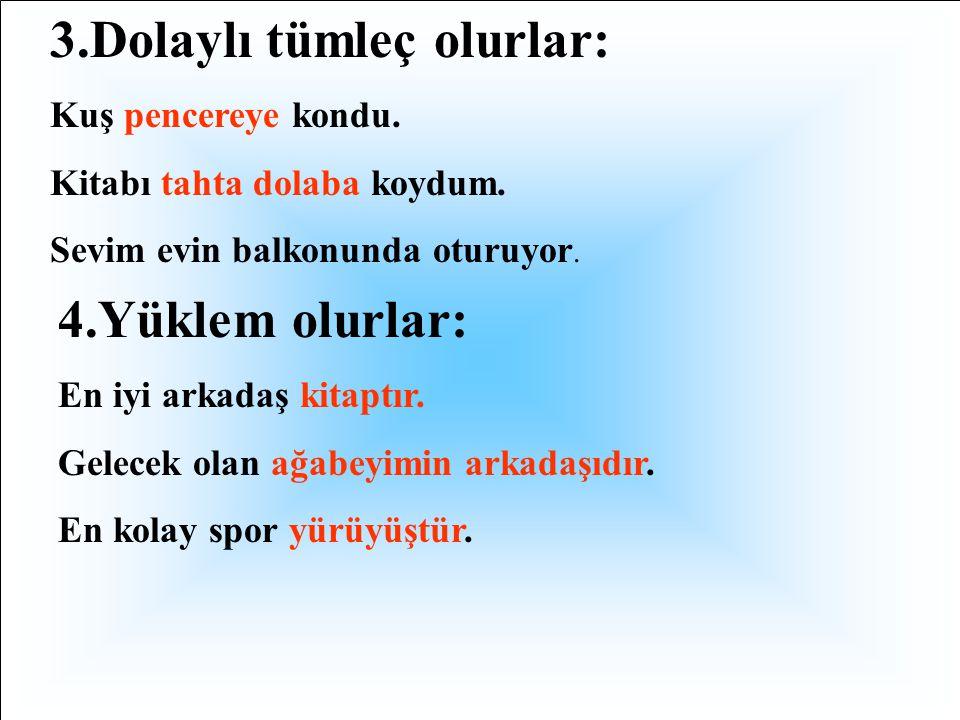 1.Özne olurlar : Okuma zihni açar. Annem okula geldi. İstanbul Boğazı gemilere açıktır. 2.Nesne olurlar: Kuş yemi beğenmedi. Ablam odanın camını siliy