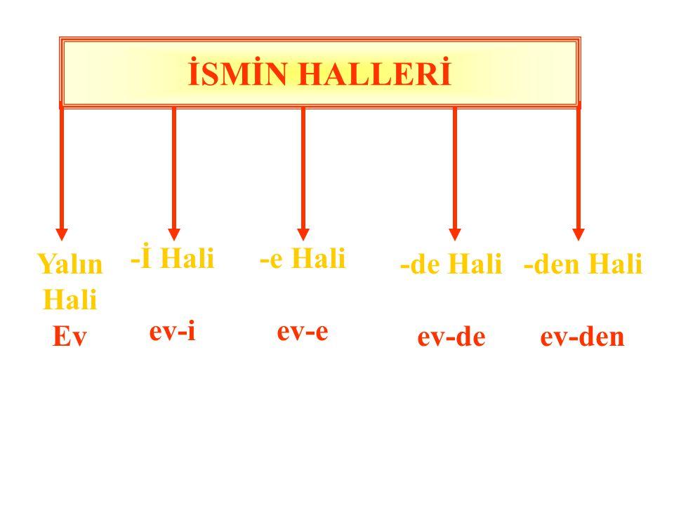 İSMİN HALLERİ İsimlerin cümledeki görevleri gereği değişik biçimlere girmesine ismin halleri denir. İsimlere cümledeki görevlerine göre bu değişimleri
