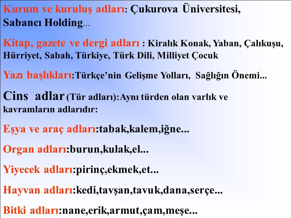 Özel adlar : Dünyada ya da evrende tek olan;benzeri bulunmayan varlıkların adlarıdır. Kişi adları:Atatürk, Fatih,Yavuz,Mete... Ülke adları:Türkiye,Kır