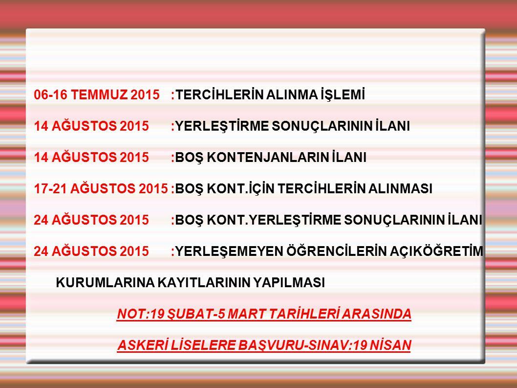 06-16 TEMMUZ 2015:TERCİHLERİN ALINMA İŞLEMİ 14 AĞUSTOS 2015:YERLEŞTİRME SONUÇLARININ İLANI 14 AĞUSTOS 2015:BOŞ KONTENJANLARIN İLANI 17-21 AĞUSTOS 2015
