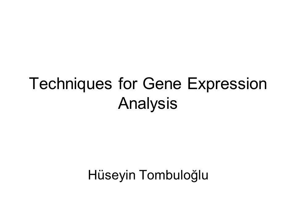 Techniques for Gene Expression Analysis Hüseyin Tombuloğlu