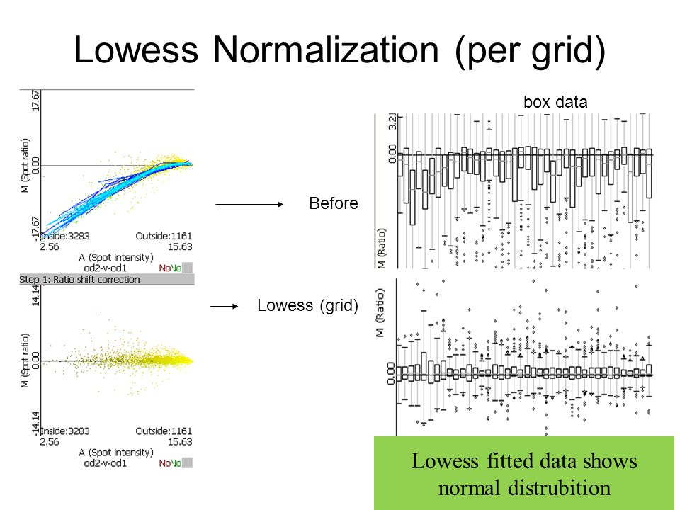 Lowess Normalization (per grid) box data Before Lowess (grid) Lowess fitted data shows normal distrubition