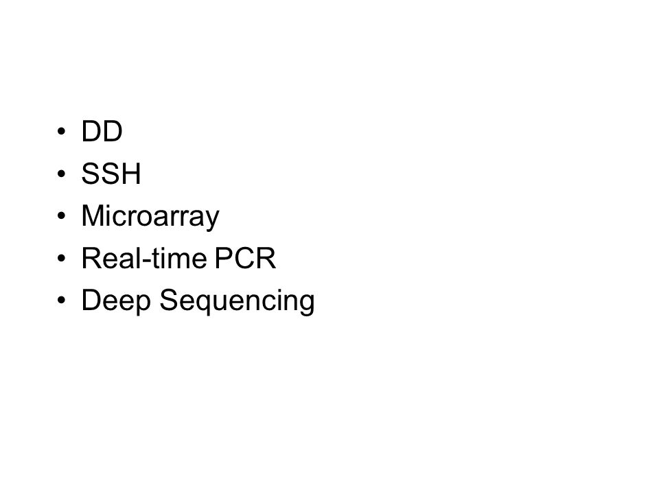 DD SSH Microarray Real-time PCR Deep Sequencing