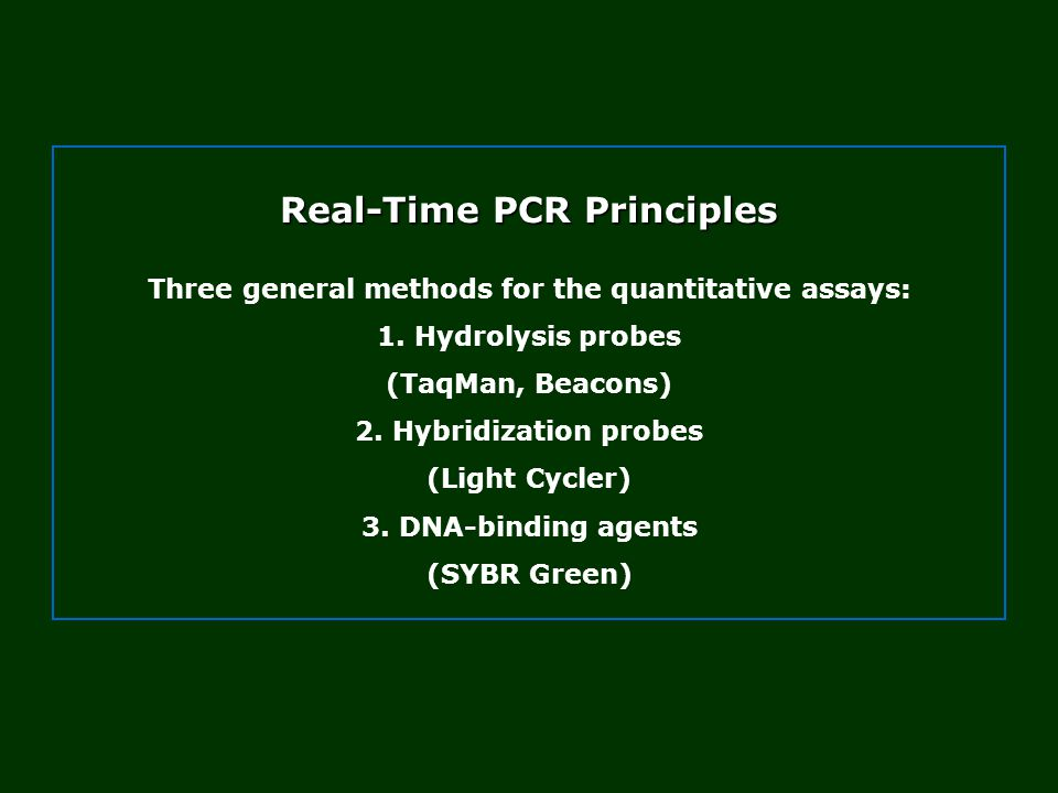 Real-Time PCR Principles Three general methods for the quantitative assays: 1.