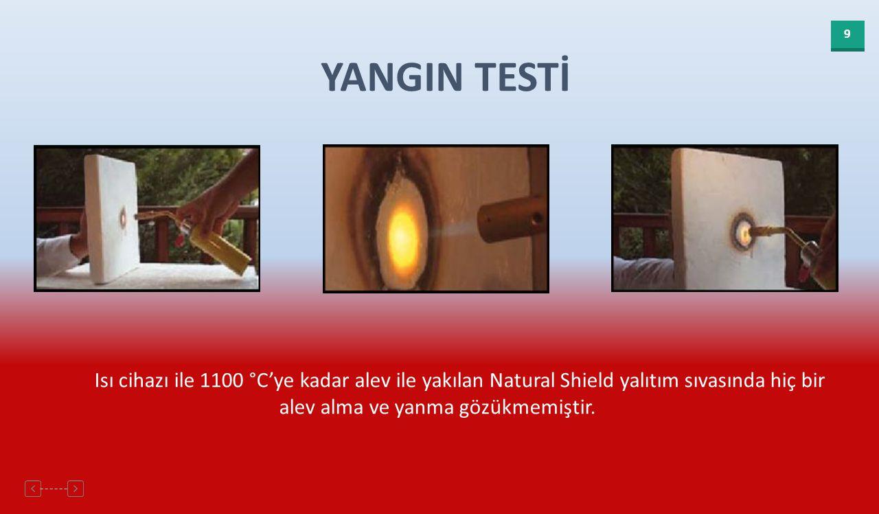 9 YANGIN TESTİ Isı cihazı ile 1100 °C'ye kadar alev ile yakılan Natural Shield yalıtım sıvasında hiç bir alev alma ve yanma gözükmemiştir.