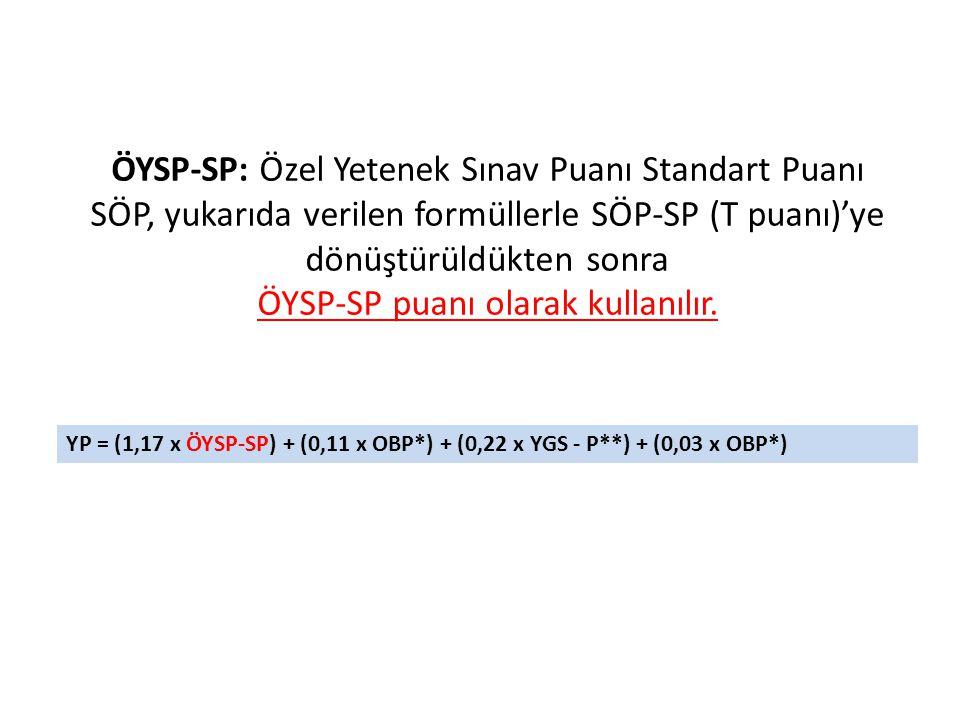 ÖYSP-SP: Özel Yetenek Sınav Puanı Standart Puanı SÖP, yukarıda verilen formüllerle SÖP-SP (T puanı)'ye dönüştürüldükten sonra ÖYSP-SP puanı olarak kul