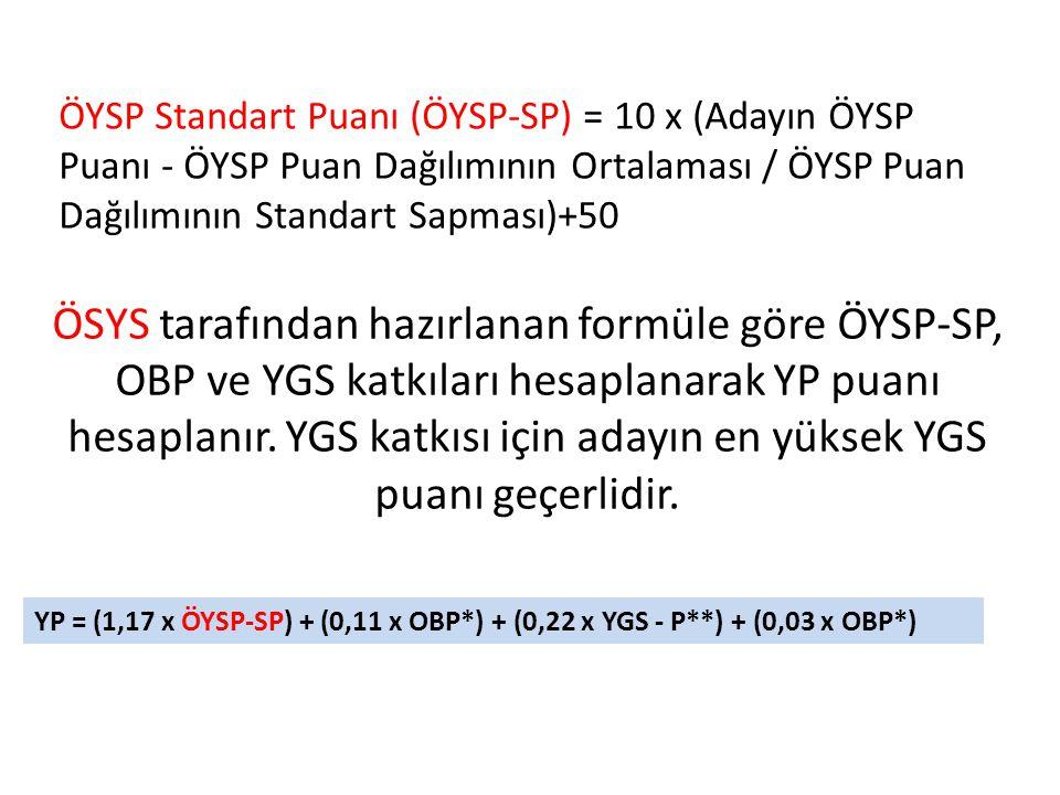 ÖSYS tarafından hazırlanan formüle göre ÖYSP-SP, OBP ve YGS katkıları hesaplanarak YP puanı hesaplanır. YGS katkısı için adayın en yüksek YGS puanı ge
