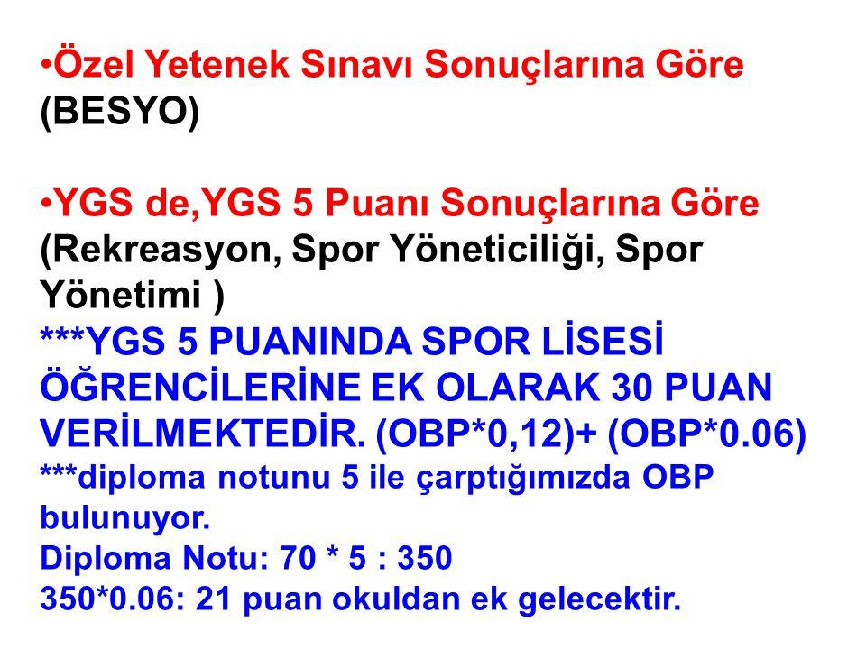 Spor Özgeçmiş Puanlarının Hesaplanması YGS-P: Yükseköğretime Geçiş Sınavı Puanı SÖK: Spor Özgeçmiş Katsayısı (EK 4 Tablo 4,5,6 da belirtilmiştir).