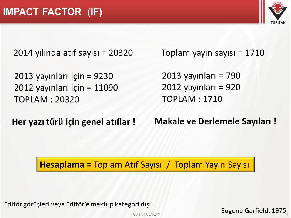 TÜBİTAK TÜBİTAK-ULAKBİM 4 IMPACT FACTOR (IF) 2014 yılında atıf sayısı = 20320 2013 yayınları için = 9230 2012 yayınları için = 11090 TOPLAM : 20320 Her yazı türü için genel atıflar .