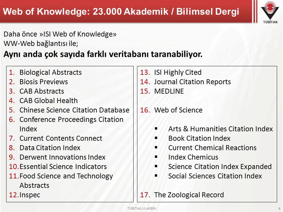 TÜBİTAK TÜBİTAK-ULAKBİM 6 Web of Knowledge: 23.000 Akademik / Bilimsel Dergi 1.Biological Abstracts 2.Biosis Previews 3.CAB Abstracts 4.CAB Global Health 5.Chinese Science Citation Database 6.Conference Proceedings Citation Index 7.Current Contents Connect 8.Data Citation Index 9.Derwent Innovations Index 10.Essential Science Indicators 11.Food Science and Technology Abstracts 12.Inspec 13.ISI Highly Cited 14.Journal Citation Reports 15.MEDLINE 16.Web of Science  Arts & Humanities Citation Index  Book Citation Index  Current Chemical Reactions  Index Chemicus  Science Citation Index Expanded  Social Sciences Citation Index 17.The Zoological Record Daha önce »ISI Web of Knowledge» WW-Web bağlantısı ile; Aynı anda çok sayıda farklı veritabanı taranabiliyor.