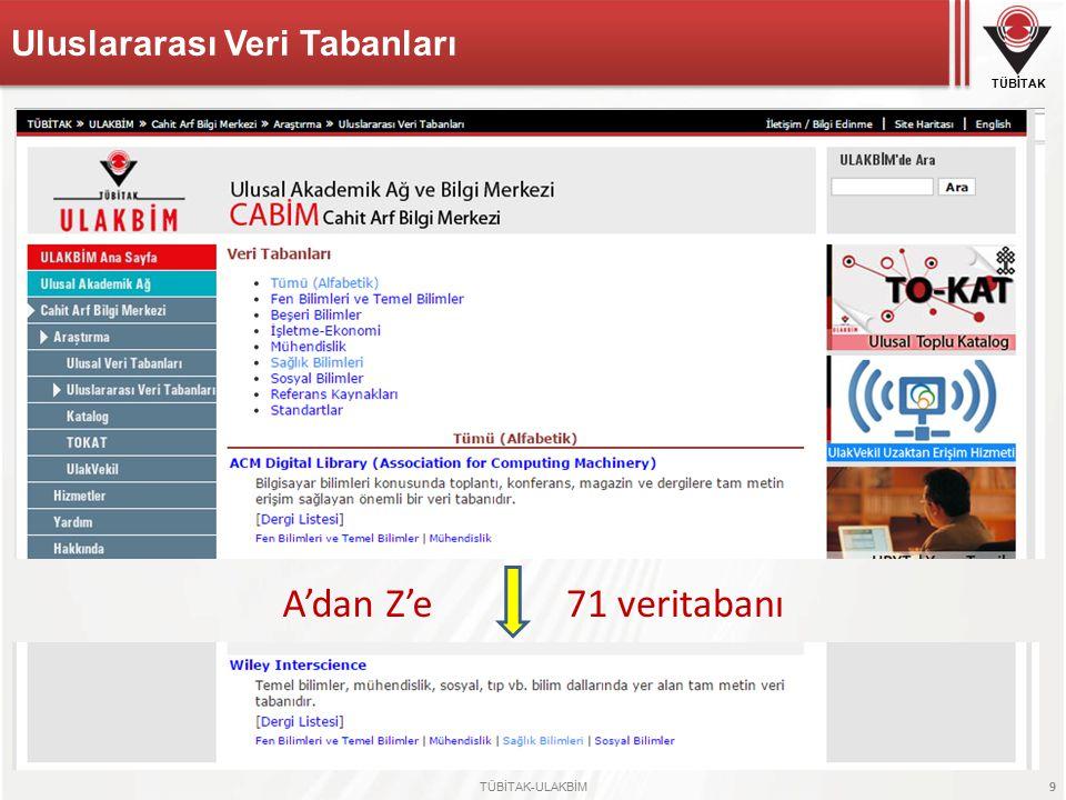 TÜBİTAK TÜBİTAK-ULAKBİM 9 A'dan Z'e71 veritabanı Uluslararası Veri Tabanları