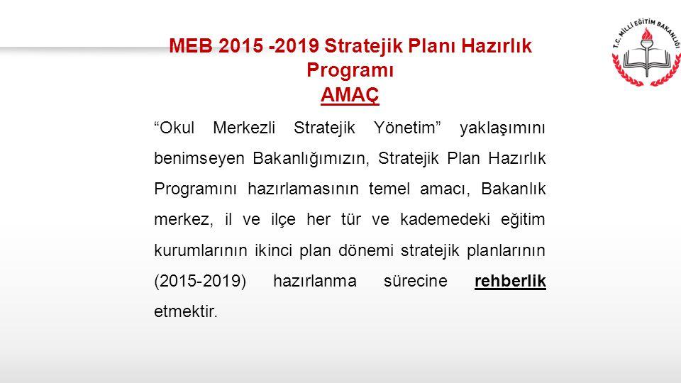 """MEB 2015 -2019 Stratejik Planı Hazırlık Programı AMAÇ """"Okul Merkezli Stratejik Yönetim"""" yaklaşımını benimseyen Bakanlığımızın, Stratejik Plan Hazırlık"""