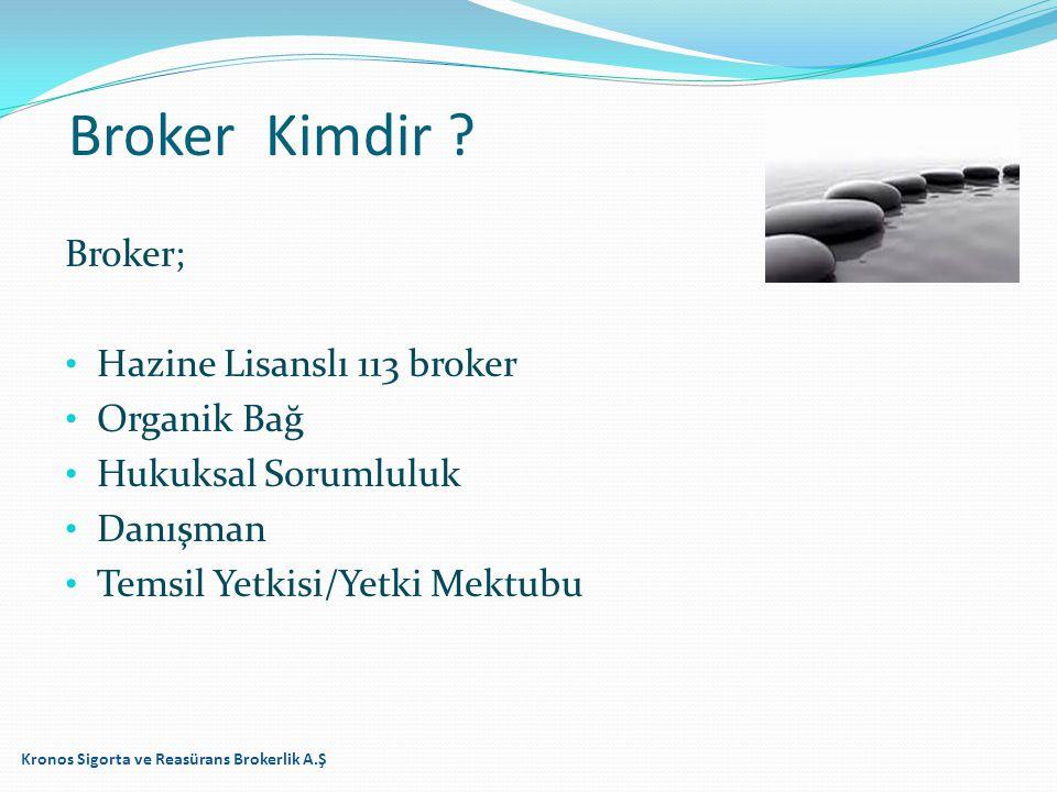 Broker; Hazine Lisanslı 113 broker Organik Bağ Hukuksal Sorumluluk Danışman Temsil Yetkisi/Yetki Mektubu Kronos Sigorta ve Reasürans Brokerlik A.Ş Bro