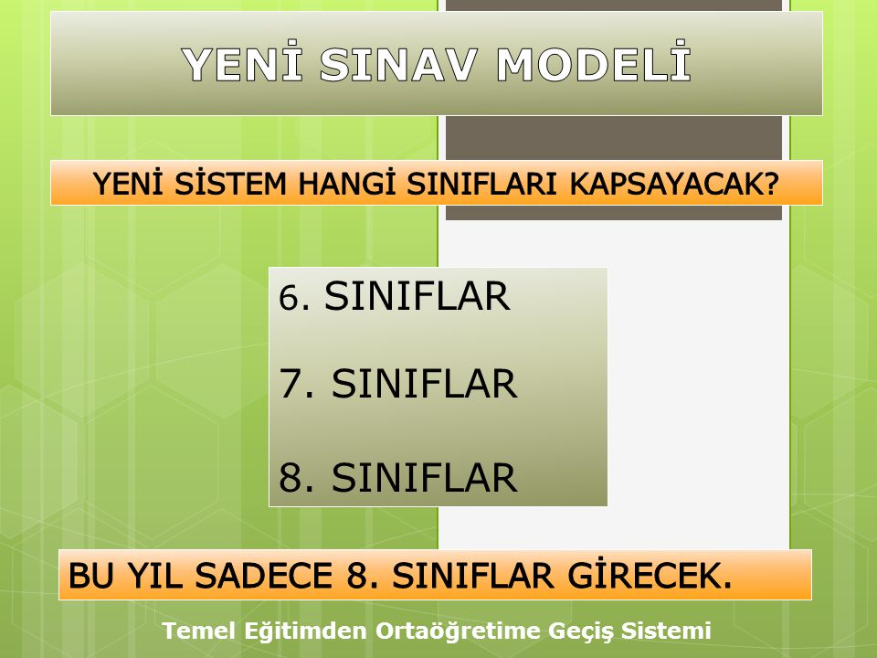 6. SINIFLAR 7. SINIFLAR 8. SINIFLAR Temel Eğitimden Ortaöğretime Geçiş Sistemi